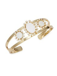 Design Lab Lord And Taylor Mother Of Pearl Crystal Bangle Bracelet Gold