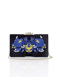 Shanghai Tang Palm Embroidery Silk Bamboo Clutch Black