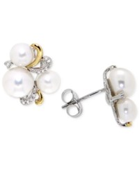 Macy's Cultured Freshwater Pearl 5 And 8Mm And Diamond Accent Stud Earrings In Sterling Silver And 14K Gold Two Tone