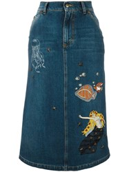 Red Valentino Sea Patches Denim Skirts Blue