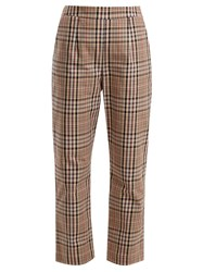 Isa Arfen High Rise Straight Leg Checked Cotton Trousers Beige Multi