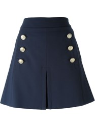 No21 Inverted Front Pleat Skirt Blue