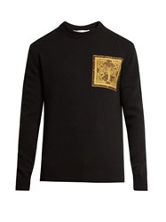Givenchy Cobra Applique Wool Sweater Black