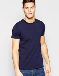 Tommy Hilfiger T Shirt With Flag Logo In Stretch Slim Fit Navy Navy