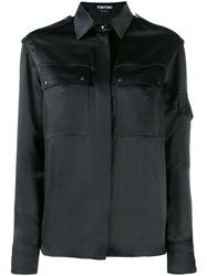 Tom Ford Contrast Long Sleeved Shirt Black
