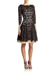 Nha Khanh Rachel Lace And Tulle A Line Dress Black