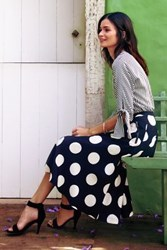 Anthropologie Deco Dot Midi Skirt Black And White