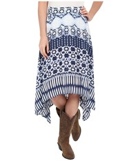 Roper 0235 Aztec Stripe Printed Rayon Skirt Blue Women's Skirt