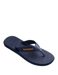 Havaianas Canvas Upper Slip On Flip Flops Navy Blue