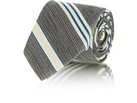 Fairfax Striped Silk Jacquard Necktie Blue