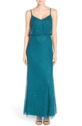 Adrianna Papell Petite Women's Embellished Blouson Gown Hunter
