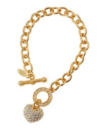 Emily And Ashley Pave Crystal Heart Link Bracelet Gold