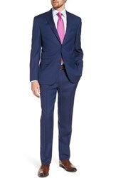 David Donahue Big And Tall Ryan Classic Fit Solid Wool Suit Medium Blue