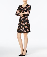 Ny Collection Petite Printed Fit And Flare Dress Blush Brush