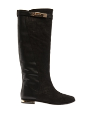 Lucy Choi London Stirling Croc Effect Leather Boots