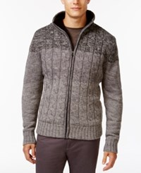 Weatherproof Cable Zip Up Sweater Gray Marl