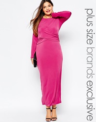 Truly You Cold Shoulder Maxi Dress With Knot Front Pink