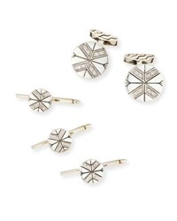 John Hardy Classic Chain Silver Cuff Links Stud Set