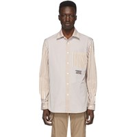 Burberry Tan And White Striped Shirt