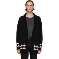 Saint Laurent Black Wool Jacquard Cardigan