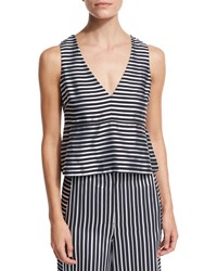 Elizabeth And James Joanna Sleeveless Striped Satin Peplum Top Navy