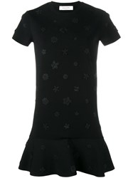 Valentino Floral Applique Dress Black