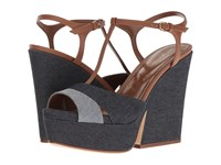 Sergio Rossi Edwige Denim Women's Wedge Shoes Blue