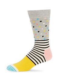 Happy Socks Contrast Patterned Crew Grey
