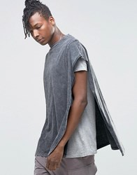 Asos Super Oversized Cape T Shirt With Acid Wash And Seam Detail Acid Wash Grey