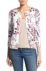 Women's Halogen Floral Print Cardigan White Pink Spliced Floral