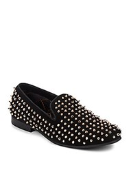 Steve Madden Dreemz Studded Suede Smoking Slippers Black Gold