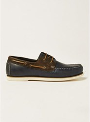 Topman Navy Leather Rapid Boat Shoes