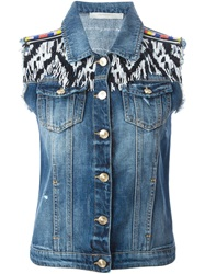 Amen Beaded Fringe Denim Vest Blue