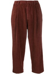 Haikure Corduroy Cropped Trousers Brown