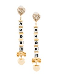 Dolce And Gabbana Amore Drop Earrings Crystal Resin Brass Metallic