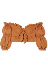 Patbo Cropped Ruffled Off The Shoulder Woven Top Camel