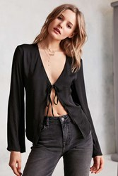 Kimchi And Blue Veronica Satin Tie Front Blouse Black