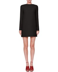 Valentino Long Sleeve Crepe Couture Dress Black