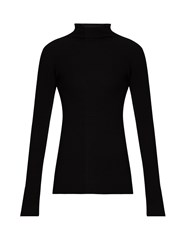 The Row Dita Ribbed Knit Wool Sweater Black