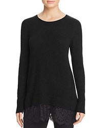 Bloomingdale's C By Lace Trim Cashmere Sweater Black