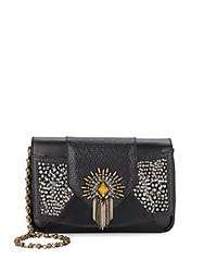 Dannijo Rocha Embellished Leather And Feather Clutch Nero
