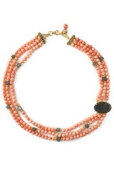 Bounkit Gold Tone Stone And Bead Choker Peach
