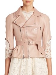 Alexander Mcqueen Cropped Leather Moto Jacket Misty Rose