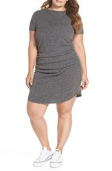 Plus Size Bp. Ruched Ribbed Body Con Dress Grey Medium Charcoal Heather
