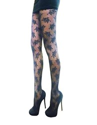 Zac Posen Floral Fashion Tights Black