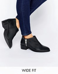 Asos Aldgate Wide Fit Leather Ankle Boots Black