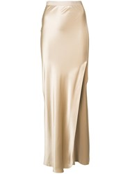 Nili Lotan Long Side Slit Slit Women Silk 2 Nude Neutrals