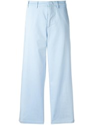 N 21 No21 Wide Leg Cropped Trousers Blue