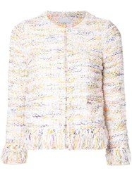 Estnation Tweed Cropped Jacket Women Cotton Acrylic Nylon 36 White