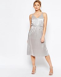 Oasis Metallic Midi Cami Dress With Tie Belt Silver